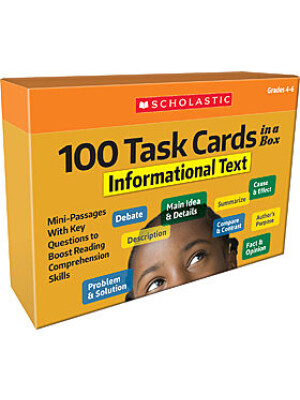 """100 Task Cards ina Box Informational Text <span class=""""author"""" >Scholastic</span>"""