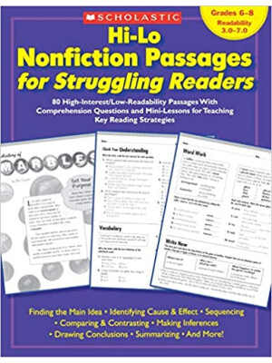 """Hi-Lo Nonfiction Passages for Struggling Readers: Grades 6-8 <span class=""""author"""" >Maria Chang, Schola, Scholastic Teaching Resources</span>"""